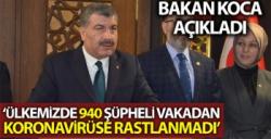 BAKAN KOCA'DAN TÜRKİYE'DE KORONAVİRÜS AÇIKLAMASI