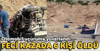 Feci kaza! Araç uçuruma yuvarlandı: 6 ölü