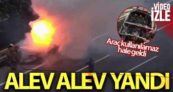 Otomobil alev alev yandı, trafik kilitlendi