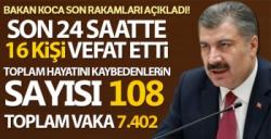 TÜRKİYE'DE CORONAVİRÜSTEN ÖLENLERİN SAYISI 108 OLDU