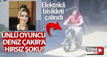 Ünlü oyuncu Deniz Çakır'ın bisikletinin çalındığı anlar kamerada