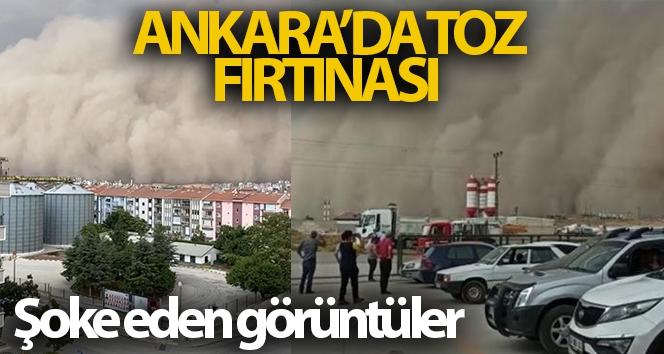Ankara'nın Polatlı ilçesindeki toz fırtınası ilçeyi karanlığa bürüdü!