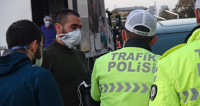 Cipiyle tura çıkan Korona virüslü, trafik polisine yakalandı