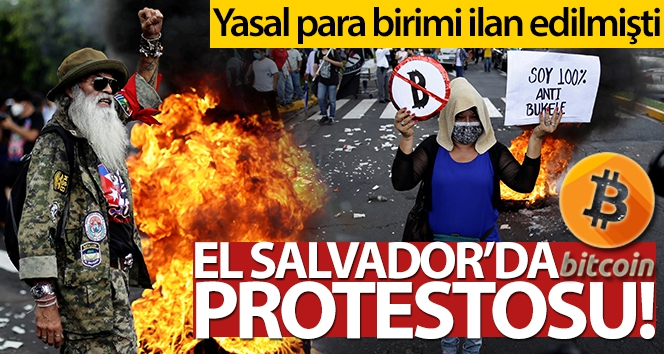 El Salvador'da Bitcoin protestosu
