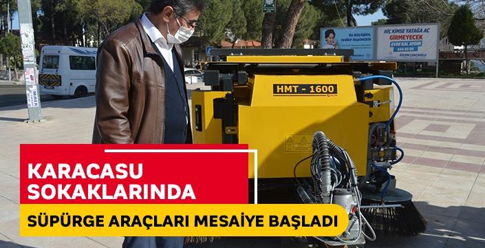 Karacasu sokaklarında süpürge araçları mesaiye başladı
