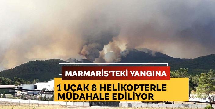 Marmaris'teki yangına 1 uçak 8 helikopterle müdahale ediliyor
