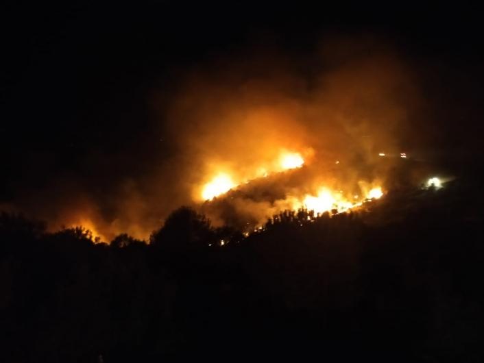 Nazilli´deki orman yangınını söndürme çalışmaları gece de devam ediyor
