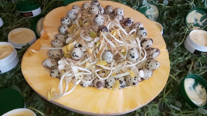 Semizotu, bıldırcın yumurtası ve kabak bileşeni ile krem yaptı